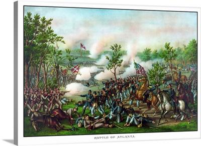 Vintage American Civil War print of The Battle of Atlanta