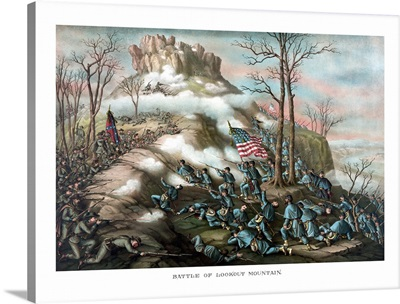 Vintage American Civil War print of The Battle of Lookout Mountain
