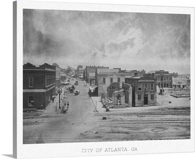 Vintage American Civil War print of the City of Atlanta, Georgia, circa 1863