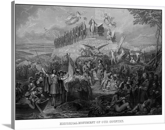 Vintage American History print of Christopher Columbus arriving in ...