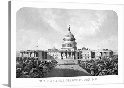 Vintage architecture print of The United States Capitol Building