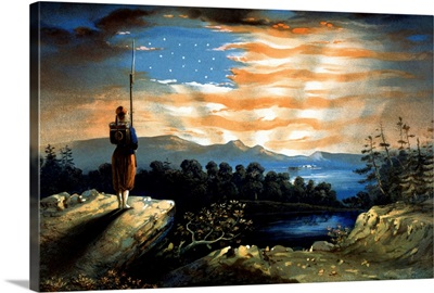 Vintage Civil War painting of a lone Zouave sentry overlooking a cliff