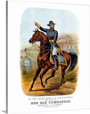 Vintage Civil War poster of General Ulysses S. Grant on horseback