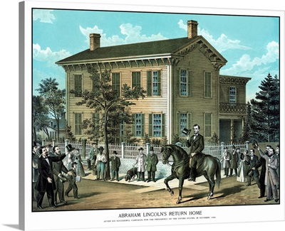 Vintage Civil War print of Abraham Lincoln riding on horseback as a crowd cheers