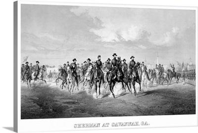 Vintage Civil War print of General Sherman and his Generals on horseback