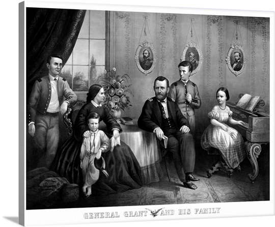 Vintage Civil War Print Of General Ulysses S Grant And His Family