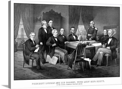 Vintage Civil War print of President Abraham Lincoln and his cabinet