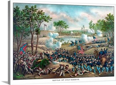 Vintage Civil War print of the Battle of Cold Harbor
