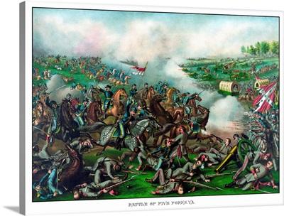 Vintage Civil War Print of the Battle of Five Forks