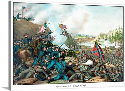 Vintage Civil War print of the Battle of Franklin