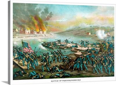 Vintage Civil War print of the Battle of Fredericksburg