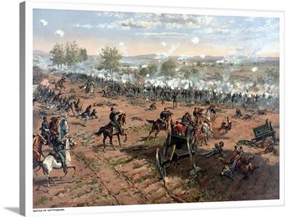Vintage Civil War print of the Battle of Gettysburg