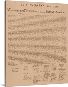 Vintage Copy Of The United States Declaration Of Independence Wall Art Canvas Prints