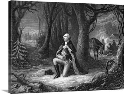 Vintage Revolutionary War print of General George Washington praying at Valley Forge