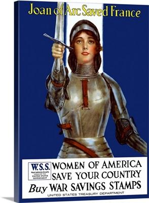 Vintage World War I poster of Joan of Arc wearing armor, raising a sword