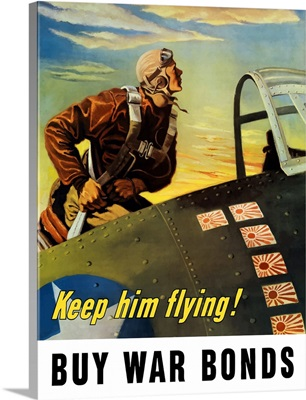 Vintage World War II poster of a fighter pilot climbing into his airplane