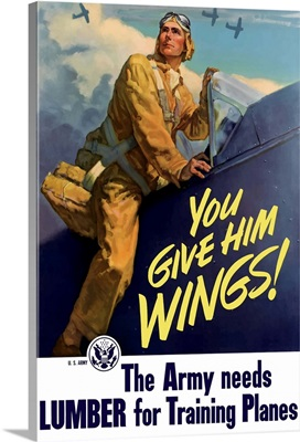 Vintage World War II poster of a pilot getting into his plane
