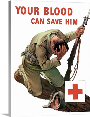Vintage World War II poster of a soldier kneeling and holding his head