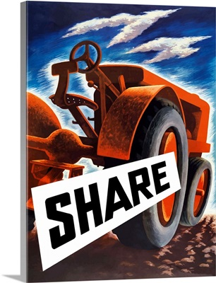 Vintage World War II poster of a tractor plowing a field