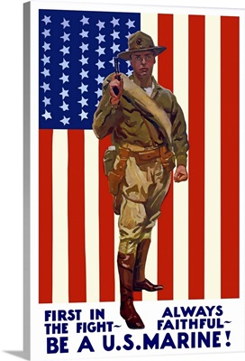 Vintage World War One poster of a US Marine holding his sidearm