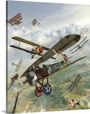 World War I U.S. bi-plane attacking German bi-planes