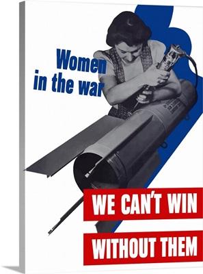 World War II poster of a female factory worker building a rocket