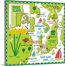 Illustrated Map of Rhode Island