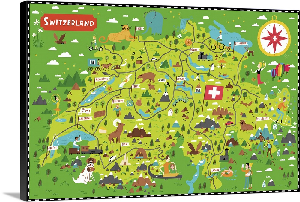 Illustrated Map of Switzerland Wall Art Canvas Prints Framed