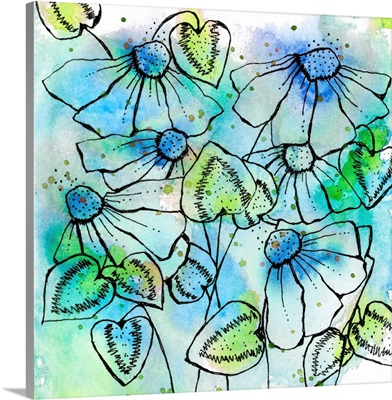 Blue Bursts and Blossoms Square