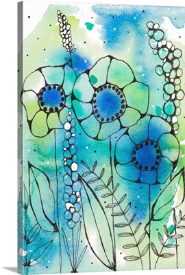 Blue Watercolor Wildflowers I