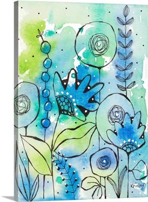 Blue Watercolor Wildflowers II