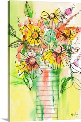 Bursting Wildflowers in Vase
