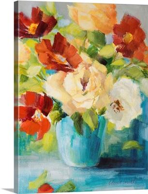 Flowers in Teal Vase I