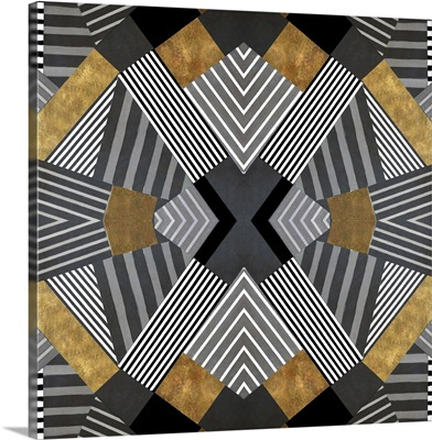 Geo Stripes in Gold and Black I