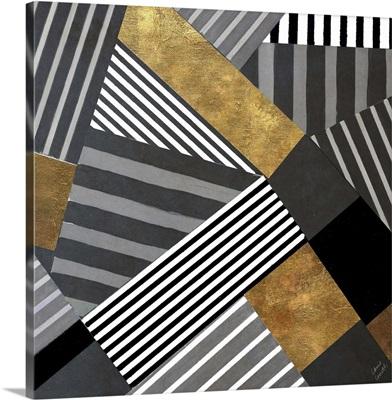 Geo Stripes in Gold and Black II