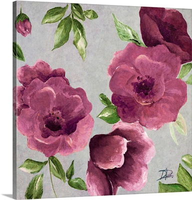 Gray And Plum Florals II