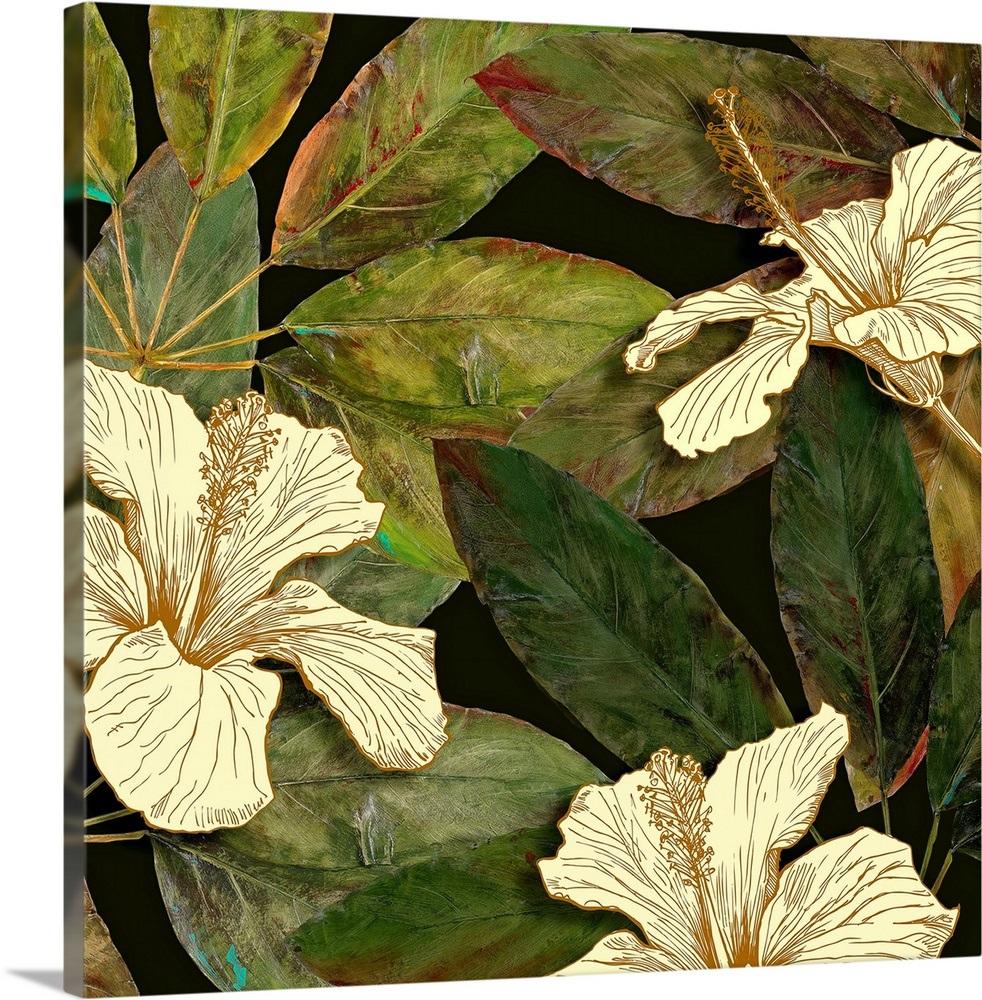 Hibiscus Leaves I Wall Art Canvas Prints Framed Prints Wall Peels