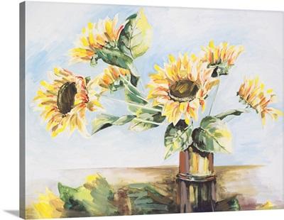 Sunflowers On Golden Vase