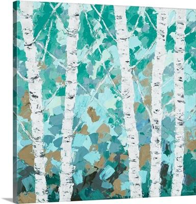 Teal Dancing Birch Tree