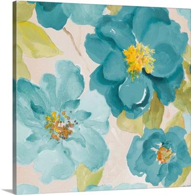 Teal Floral Delicate I