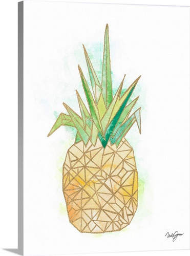 Watercolor Origami Pineapple Wall Art Canvas Prints Framed Prints