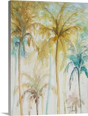 Watercolor Palms in Blue II