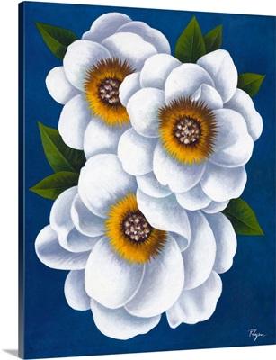 White Flowers on Blue II