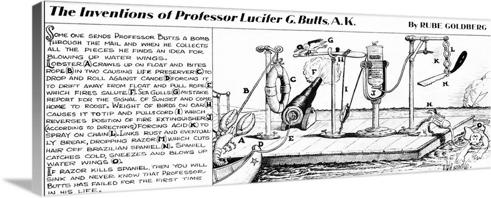 Rube Goldberg Illustration Professor Butts Idea For Blowing Up