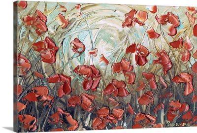 Aqua Amber Poppies