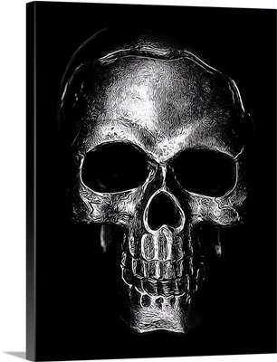 Etched Silver Skull