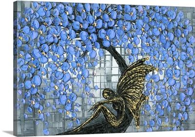 Fairy Under Blue Cherry Blossom Tree