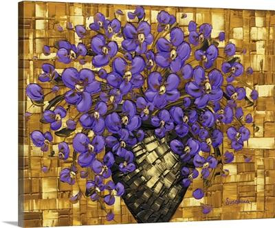 Purple Flowers Bouquet In Vase
