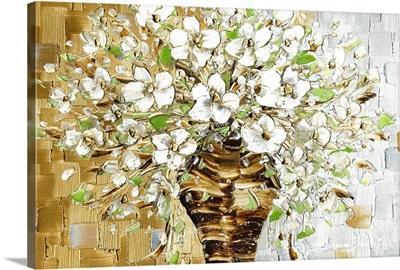 White Blossoms Contemporary Bouquet Art