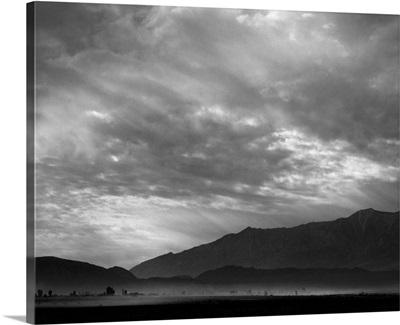 A dust storm over Manzanar Relocation Center in California, 1943
